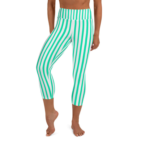Turquoise Blue Vertical Stripe Print Women's Yoga Capri Leggings- Made in USA/ EU-Capri Yoga Pants-XS-Heidi Kimura Art LLC