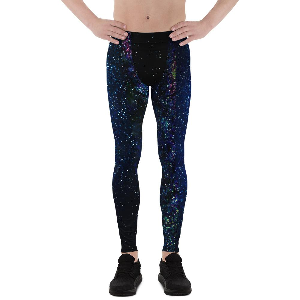 Space Galaxy Print Premium Men's Leggings Costume Pants Meggings - Made in USA/EU-Men's Leggings-XS-Heidi Kimura Art LLC