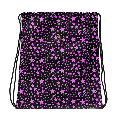 "Black Pink Star Pattern Print Designer 15""x17"" Size Drawstring Bag- Made in USA/EU-Drawstring Bag-Heidi Kimura Art LLC"