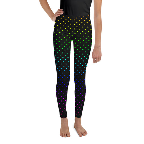 Black Rainbow Polka Dots Youth Leggings Cute Tights Workout Pants- Made in USA/EU-Youth's Leggings-Heidi Kimura Art LLC