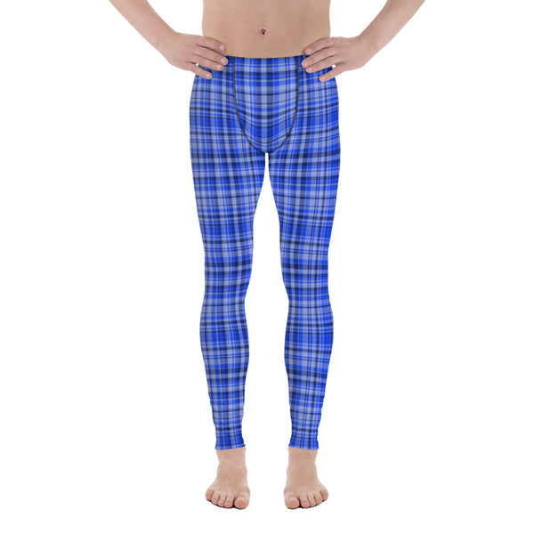 Blue Tartan Plaid Print Meggings, Men's Running Leggings Soft Tights- Made in USA/ EU-Men's Leggings-XS-Heidi Kimura Art LLC