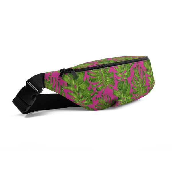 Hot Pink Tropical Leave Print Designer Fanny Pack Over The Shoulder Bag- Made in USA-Fanny Pack-Heidi Kimura Art LLC