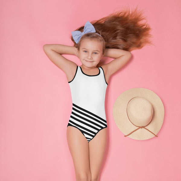 Chihiro White Black Diagonal Striped Cute Premium Kids Swimsuit Bathing Suit - Made in USA (US Size: 2T-7)