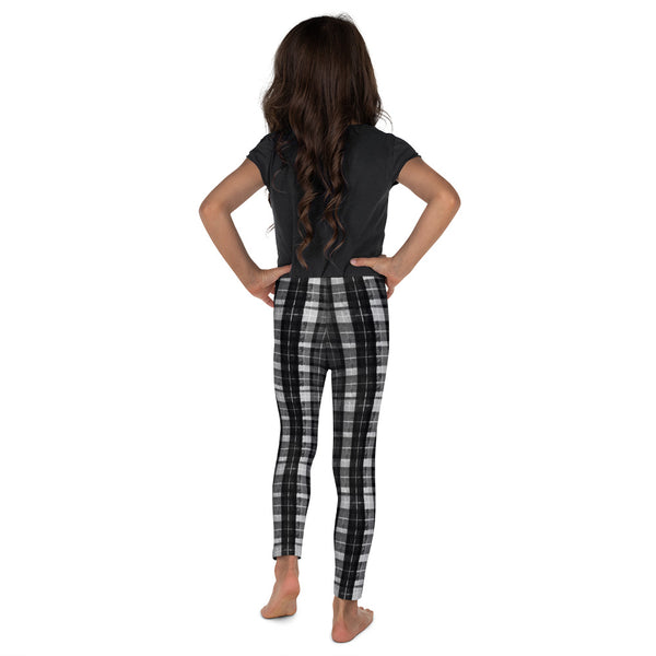 Black Plaid Print Designer Kid's Girl's Leggings Active Wear Pants (2T-7) Made in USA/EU-Kid's Leggings-Heidi Kimura Art LLC