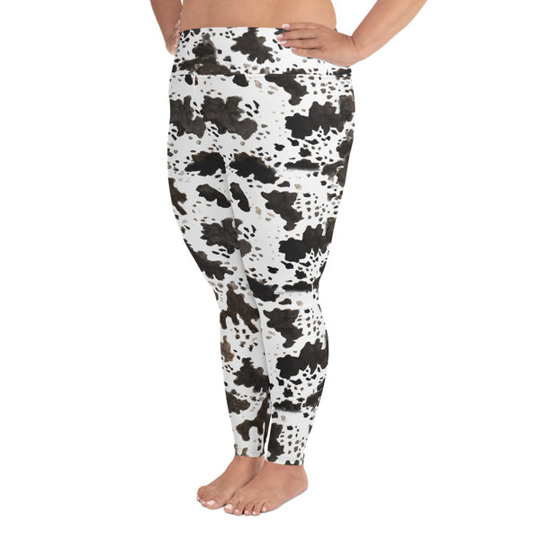Cow Print Plus Size Women's Workout Fitness Sports Yoga Pants Long Leggings-Women's Plus Size Leggings-Heidi Kimura Art LLC Cow Print Plus Size Leggings, Cow Print Plus Size Women's Workout High Waist Ankle Length Fitness Sports Yoga Pants Long Leggings - Made in USA/EU (US Size: 2XL-6XL)