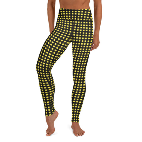 Yellow Buffalo Plaid Print Women's Long Yoga Leggings Pants Tights- Made in USA/EU-Leggings-Heidi Kimura Art LLC Yellow Buffalo Plaid Women's Leggings, Yellow Buffalo Plaid Print Premium Women's Active Wear Fitted Leggings Sports Long Yoga & Barre Pants, Sportswear, Gym Clothes, Workout Pants - Made in USA/ EU (US Size: XS-XL)