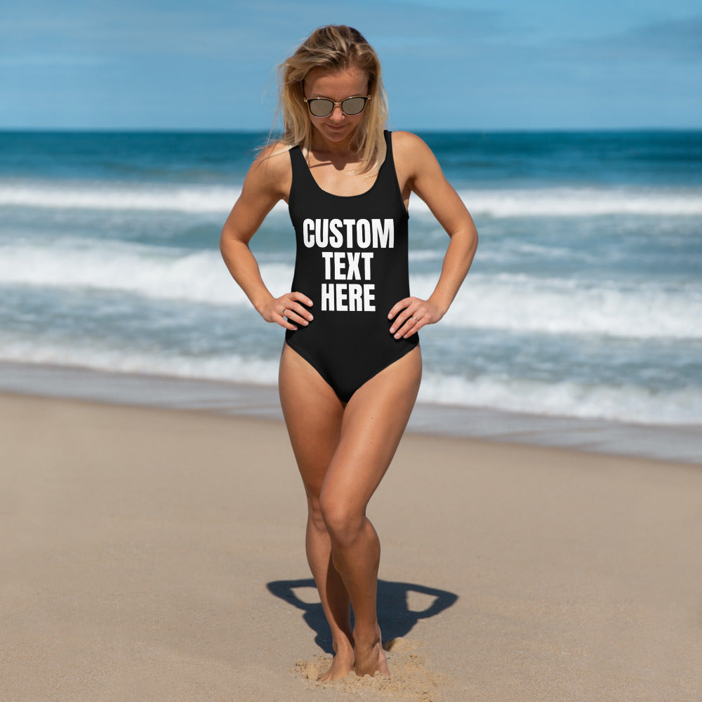 Custom Text Black One-Piece Women's Swimsuit, Made in USA (US Size: XS-3XL)