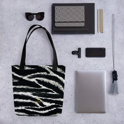 "Fashionable Zebra Animal Print 15"" x 15"" Black White Designer Tote Bag - Made in USA/EU-Tote Bag-Black-Heidi Kimura Art LLC"