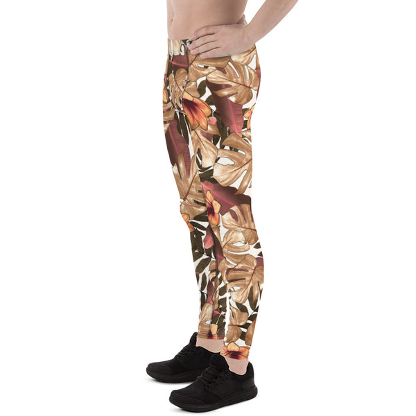 Orange Brown Tropical Palm Leaf Men's Skinny Compression Tights-Made in USA/EU-Men's Leggings-Heidi Kimura Art LLC Orange Brown Tropical Meggings, Orange Brown Tropical Palm Leaf Men's Skinny Compression Running Tights Meggings Leggings-Made in USA/EU (US Size: XS-3XL)