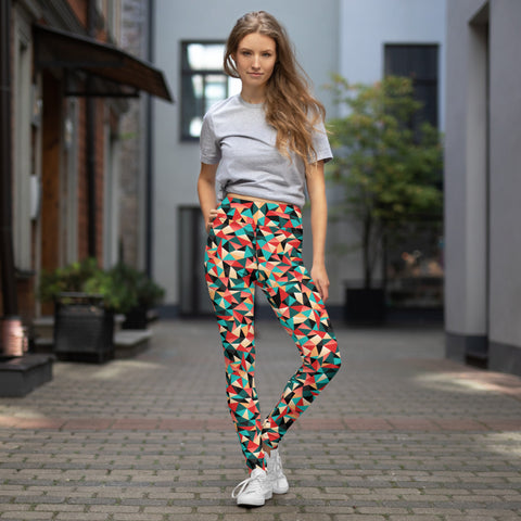 Geometric Red Women's Yoga Leggings, Patterned Colorful Ladies Yoga Pants-Heidikimurart Limited -Heidi Kimura Art LLC Geometric Red Women's Yoga Leggings, Patterned Colorful Ladies' Abstract Print Gym Active Fitted Leggings Sports Yoga Pants - Made in USA/EU/MX (US Size: XS-XL)