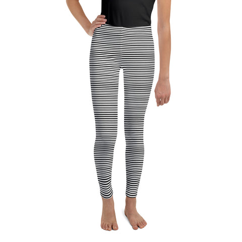 Black White Horizontal Stripe Print Premium Youth Leggings Tights- Made in USA/ EU-Youth's Leggings-8-Heidi Kimura Art LLC Black Striped Youth Leggings, Black & White Horizontal Stripe Print Premium Quality Designer Unisex/ Girl Bottoms Winter Essentials Sports Gym 38-40 UPF Youth Leggings, Made in USA/ EU, Striped Leggings, Stripes Leggings, Stripe Youth Leggings,  Girl or Boy Stripe Leggings, Leggings With Stripe, Pirate Tights, Best Youth's Designer Yoga Pants/ Tights (US Size: 8-20)