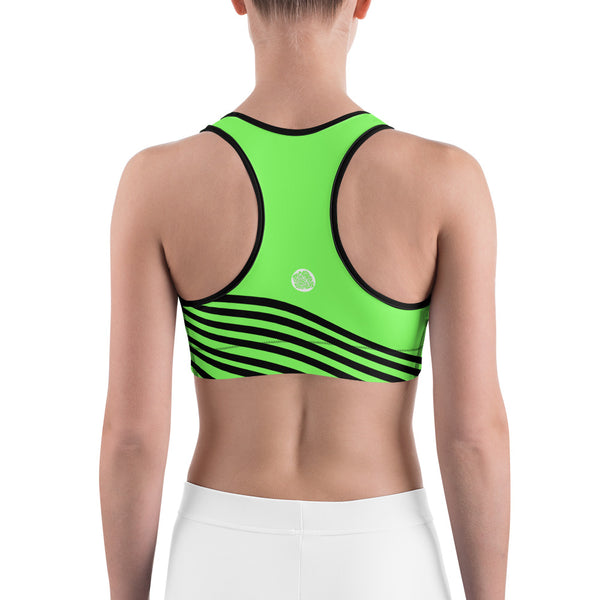 Neon Green Black Diagonal Striped Print Women's Fitness Sports Bra - Made in USA/EU-Sports Bras-Heidi Kimura Art LLC