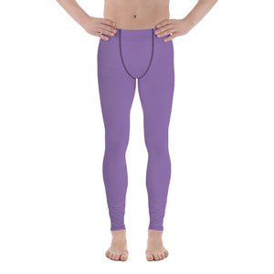 Purple Solid Color Print Men's Skinny Compression Tights Meggings Leggings-Made in USA (US Size: XS-3XL)