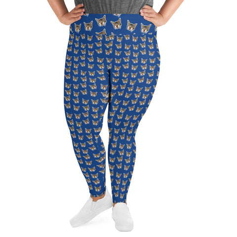 Dark Blue Cat Print Plus Size Leggings, Women's Plus Size Yoga Pants-Made in USA/EU-Women's Plus Size Leggings-Heidi Kimura Art LLC