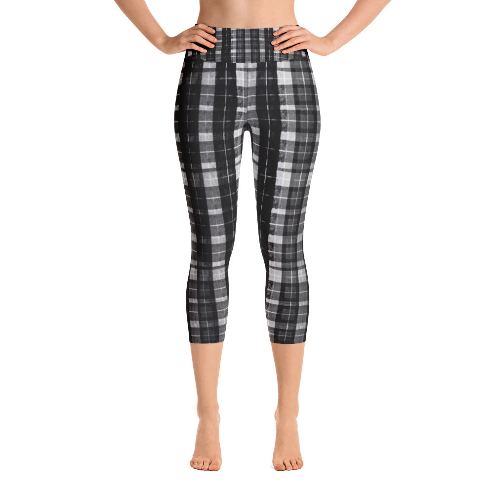 Black Plaid Women's Yoga Capri Pants Leggings Plus Size Available- Made In USA-Capri Yoga Pants-XS-Heidi Kimura Art LLC