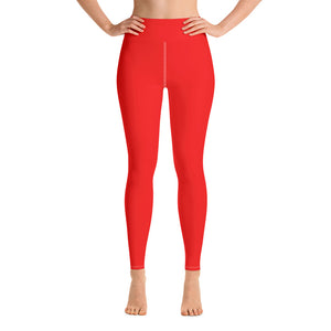 Women's Bright Red Solid Color Active Wear Fitted Leggings Pants - Made in USA-Leggings-XS-Heidi Kimura Art LLC Bright Red Women's Leggings, Women's Gray Stripe Active Wear Fitted Leggings Sports Long Yoga & Barre Pants - Made in USA/EU (XS-XL)