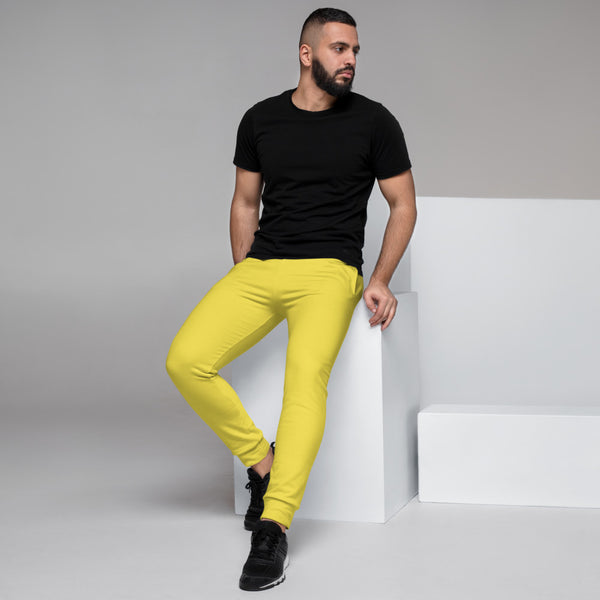 Lemon Yellow Designer Men's Joggers, Best Bright Yellow Solid Color Sweatpants For Men, Modern Slim-Fit Designer Ultra Soft & Comfortable Men's Joggers, Men's Jogger Pants-Made in EU/MX (US Size: XS-3XL)
