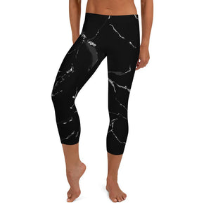 Black Marble Print Women's Designer Casual Fashion Capri Leggings- Made in USA/ EU-capri leggings-XS-Heidi Kimura Art LLC