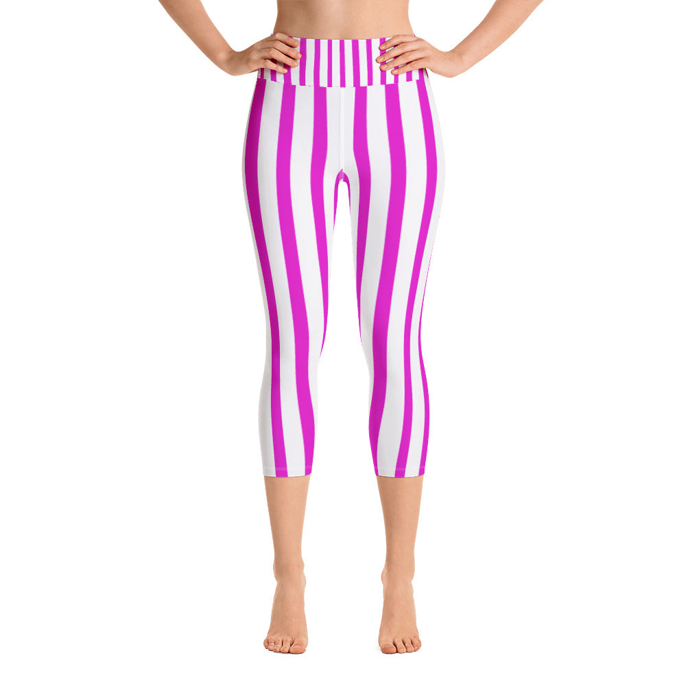 Pink Striped Women's Yoga Capri Pants Workout Leggings With Pockets - Made in USA/EU-Capri Yoga Pants-XS-Heidi Kimura Art LLC