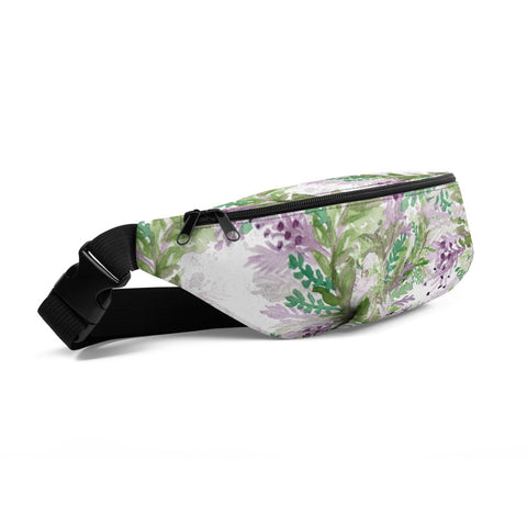 White Lavender Print Designer Over the Shoulder Fanny Pack- Made in USA/EU--Heidi Kimura Art LLC White Lavender Fanny Pack, Floral Print Designer Premium Quality Cute Unisex Water Repellent Best Fanny Pack Mini Over The Shoulder Bag/ Hip Pack/ Belt Waist Bag With Adjustable Waist/ Shoulder Belts For Men/ Women - Made in USA/ Europe (US Sizes: S, M, L)