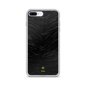 Black Tiger Striped Animal Print Pattern Custom Name iPhone Case, Made in USA/ Europe-Phone Case-iPhone 7 Plus/8 Plus-Heidi Kimura Art LLC