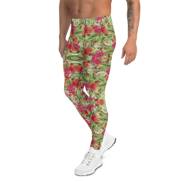 Red Rose Floral Men's Leggings-Heidikimurart Limited -Heidi Kimura Art LLC Red Rose Floral Men's Leggings, Colorful Flower Print Stylish Colorful Sexy Meggings Men's Workout Gym Tights Leggings, Men's Compression Tights Pants - Made in USA/ EU/ MX (US Size: XS-3XL)