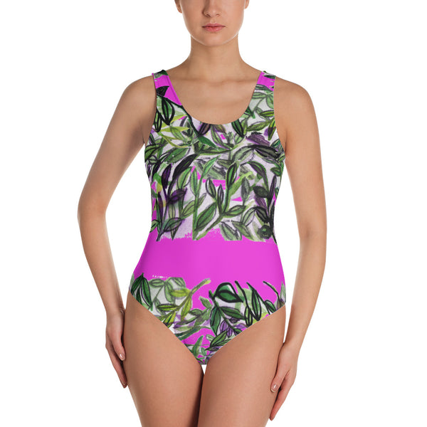 Tropical Top Floral Print Designer's Choice One-Piece Women's Swimsuit Sportswear-Swimwear-XS-Heidi Kimura Art LLC Tropical Leaf Women's Swimwear, Tropical Floral Print Designer's Choice One-Piece Women's Swimsuit Sportswear- Made in USA (US Size: XS-3XL) Plus Size Available