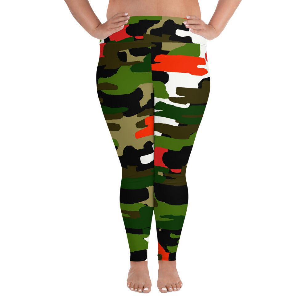 White Orange Green Military Print Women's Tights Plus Size Leggings - Made in USA-Women's Plus Size Leggings-2XL-Heidi Kimura Art LLC