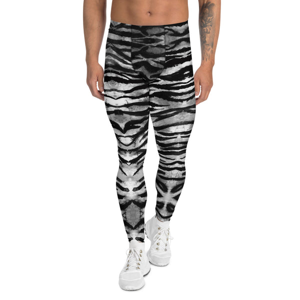 Grey Tiger Stripe Men's Leggings, Animal Print Meggings Compression Tights-Heidi Kimura Art LLC-XS-Heidi Kimura Art LLC