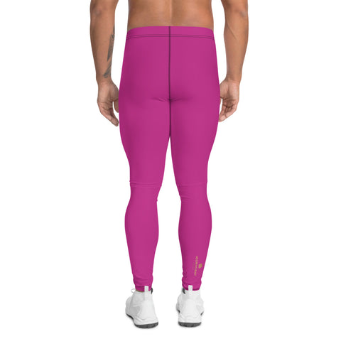 Hot Pink Meggings, Designer Solid Color Men's Leggings-Heidi Kimura Art LLC-Heidi Kimura Art LLC Hot Pink Meggings, Designer Solid Pink Color Modern Meggings, Men's Leggings Tights Pants - Made in USA/EU (US Size: XS-3XL) Sexy Meggings Men's Workout Gym Tights Leggings