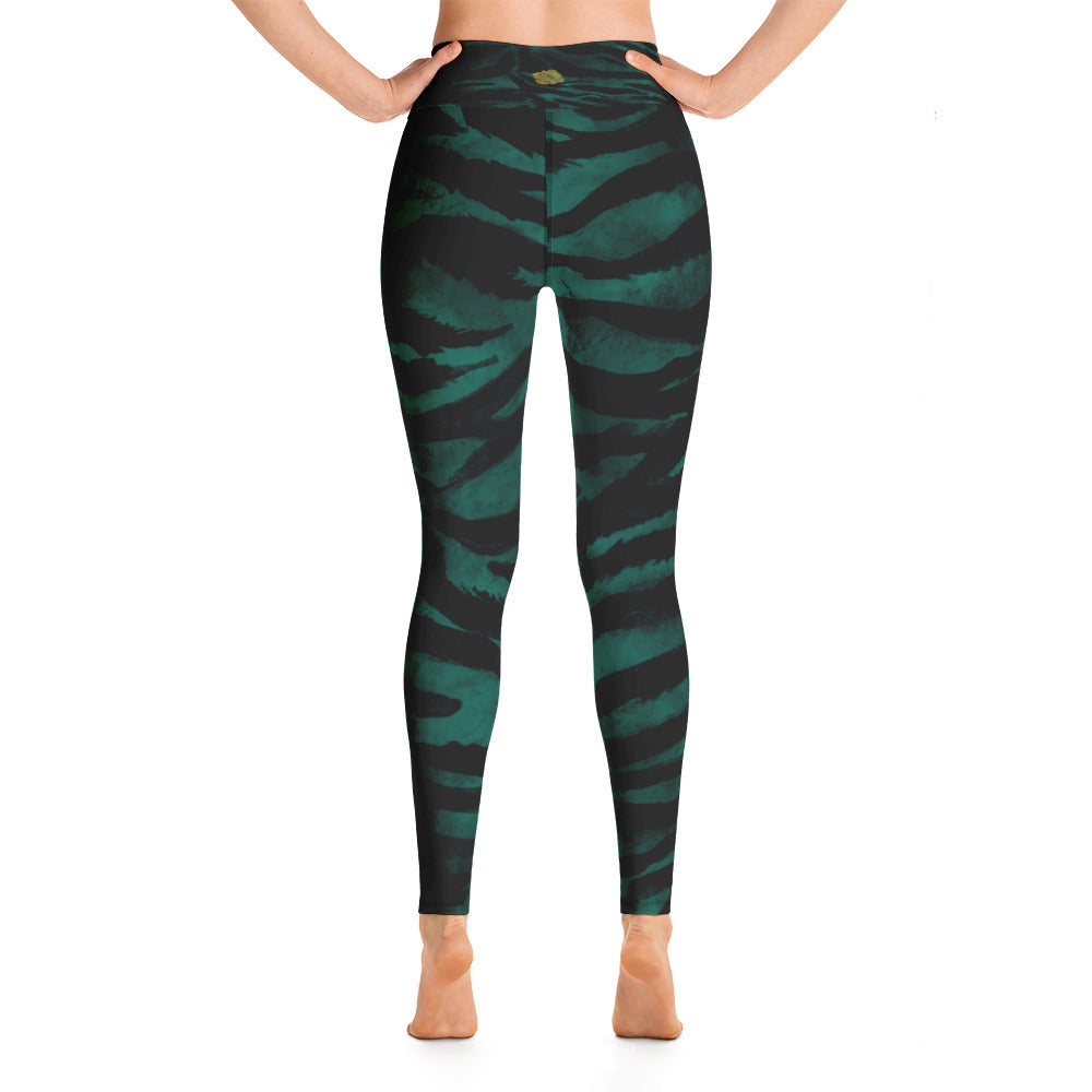 266c89cff60602 Saru Green Animal Tiger Stripe Print Workout Fitted Leggings Sports Long Yoga  Pants With Inside Pockets - Made in USA