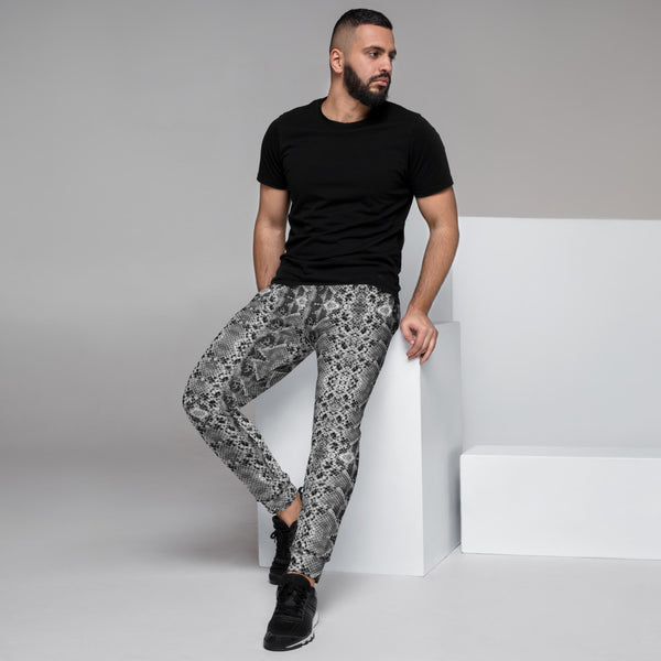 Black Snake Print Men's Joggers, Sexy Snake Animal Print Casual Sweatpants- Made in EU-Heidikimurart Limited -XS-Heidi Kimura Art LLC Black Snake Print Men's Joggers, Sexy Snake Python Animal Print Sweatpants For Men, Modern Slim-Fit Designer Ultra Soft & Comfortable Men's Joggers, Men's Jogger Pants-Made in EU/MX (US Size: XS-3XL)