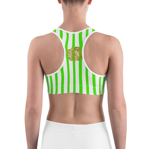 Green Pink Colorful Vertical Stripe Floral Print Women's Sports Bra-Made in USA-Sports Bras-Heidi Kimura Art LLC