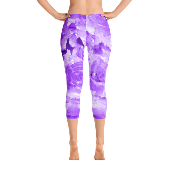 Purple Rose Floral Designer Capri Leggings Activewear Outfit Yoga Pants - Made in USA-capri leggings-XS-Heidi Kimura Art LLC