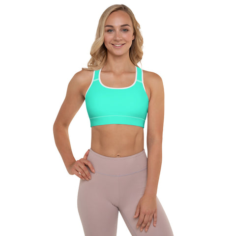 Turquoise Blue Color Sports Bra, Solid Color Bright Best Padded Yoga Bra- Made in USA/ EU-Sports Bras-White-XS-Heidi Kimura Art LLC