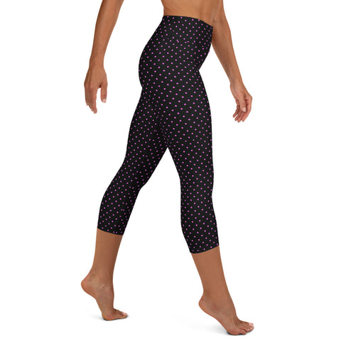 Polka Dots Yoga Capri Leggings, Women's Cute Dotted Capris Tights-Made in USA/EU-Heidi Kimura Art LLC-Heidi Kimura Art LLC Pink Polka Dots Capris Tights, Dots Print Yoga Capri Leggings, Women's Cute Dotted Printed Women's Yoga Capri Leggings Pants High Performance Tights- Made in USA/EU (US Size: XS-XL)