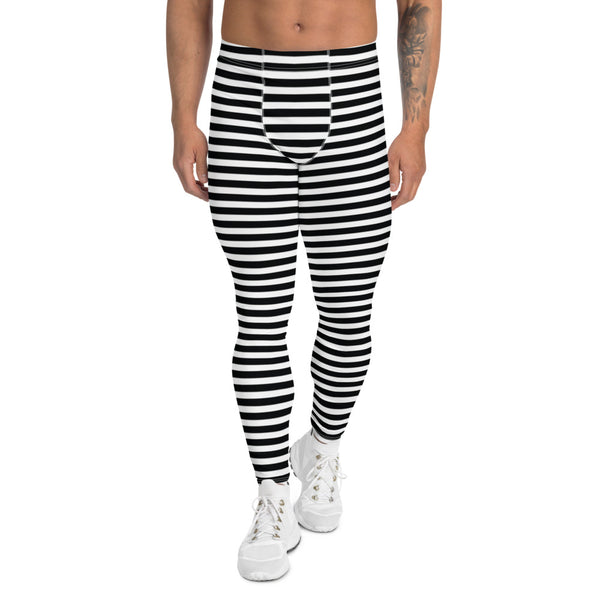Classic Horizontal Striped Men's Leggings, Modern Essential Men Run Tights-Heidikimurart Limited -Heidi Kimura Art LLC Classic Horizontal Striped Men's Leggings, Best Striped Men's Leggings, Black White Athletic Running Elastic Striped Men's Running Leggings & Run Tights Meggings Activewear- Made in USA/ Europe/ MX (US Size: XS-3XL) Circus Long Tights For Men