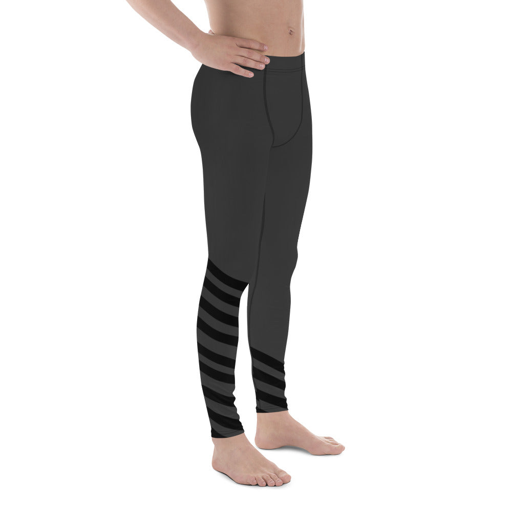 96ee2a8ef5ca6 Nagai Black and Gray Diagonal Striped Men's Athletic Running Leggings & Run  Tights Meggings Activewear Bottom - Made in USA/ Europe (US Size: XS-3XL)