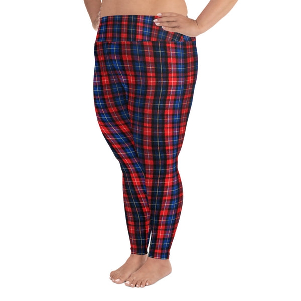 2f4a0d42184 ... Akira Red Plaid Print Women s Long Yoga Pants With Pockets Plus Size  Leggings -Made In ...