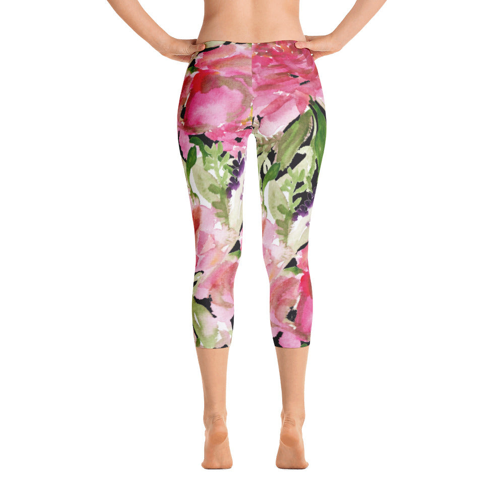 Pink Rose Floral Designer Women's Fashion Casual Capri Leggings - Made in USA-capri leggings-XS-Heidi Kimura Art LLC