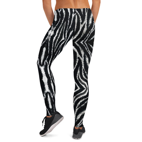 Zebra Print Women's Leggings, Casual Fancy Tights-Made in USA/EU-Heidi Kimura Art LLC-Heidi Kimura Art LLC