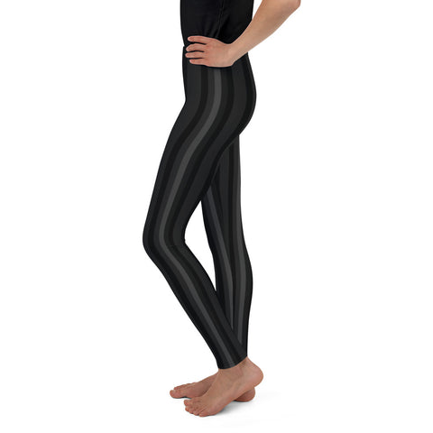 Black Gray Striped Youth Leggings, Vertical Stripe Print Youth Leggings- Made in USA/ EU-Youth's Leggings-Heidi Kimura Art LLC