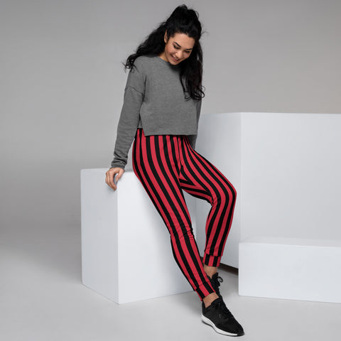 Red Black Striped Women's Joggers, Vertical Stripes Circus Slit Fit Soft Women's Joggers Sweatpants -Made in EU (US Size: XS-3XL) Plus Size Available, Solid Coloured Women's Joggers, Soft Joggers Pants Womens, Women's Long Joggers, Women's Soft Joggers, Lightweight Jogger Pants Women's, Women's Athletic Joggers, Women's Jogger Pants