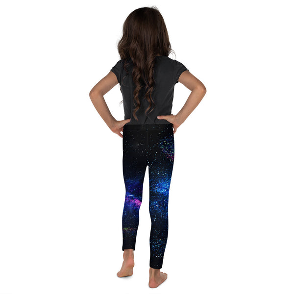 Galaxy Outer Space Print Premium Kid's Leggings Running Tights- Made in USA/ EU-Kid's Leggings-Heidi Kimura Art LLC