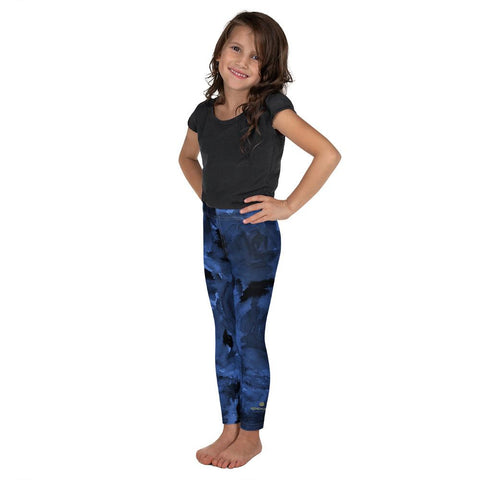 Navy Blue Abstract Rose Floral Print Kid's Leggings Cute Workout Pants- Made in USA/EU-Kid's Leggings-Heidi Kimura Art LLC