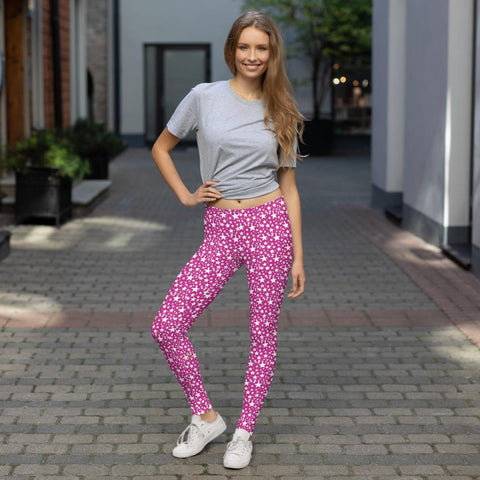 Hot Pink White Star Pattern Print Women's Fancy Dressy Casual Leggings- Made in USA/EU-Casual Leggings-Heidi Kimura Art LLC Pink Star Leggings, Hot Pink White Star Pattern Print Designer Women's Long Fancy Dressy Fashion Casual Leggings/ Running Tights - Made in USA/EU (US Size: XS-XL)