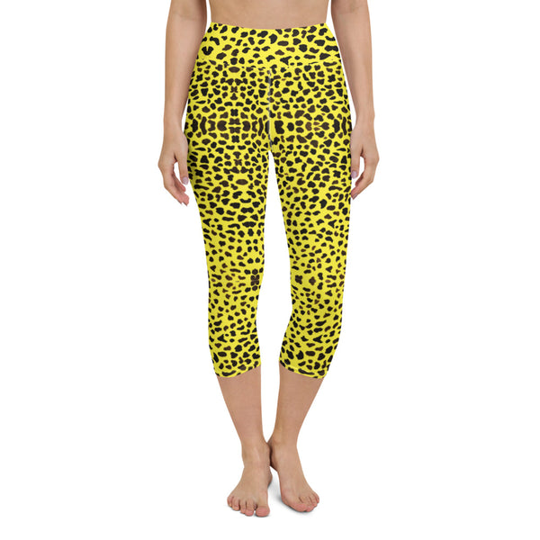 Yellow Leopard Yoga Capri Leggings-Heidikimurart Limited -XS-Heidi Kimura Art LLC