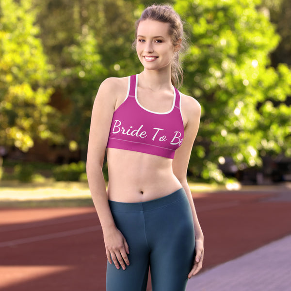 Bride To Be Hot Pink Unpadded Women's Premium Gym Sports Bra - Made in USA/ EU-Sports Bras-Heidi Kimura Art LLC Pink Bride Sports Bra, Hot Pink Bride To Be Text Premium Unpadded Elastic Polyester Spandex Women's Unpadded Gym Workout Sports Fitness Bra For Future Brides - Made in USA/ EU (US Size: XS-2XL)