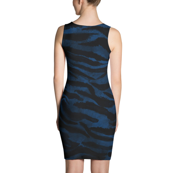 Rika 1-pc Navy Blue Black Women's Tiger Striped Animal Print Dress- Made in USA/ Europe