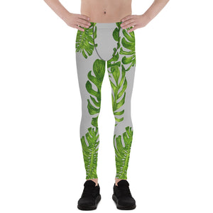 Light Gray Green Tropical Leaf Print Men's Premium Leggings Meggings-Made in USA/EU-Men's Leggings-XS-Heidi Kimura Art LLC